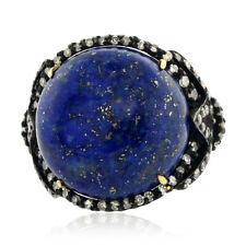 21.3ct Lapis Diamond 14kt Gold 925 Sterling Silver Designer Ring Fashion Jewelry
