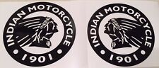 "Indian Motorcycle Chief, Black Round Logo Decal Sticker, Set of 2.  6"" diameter"