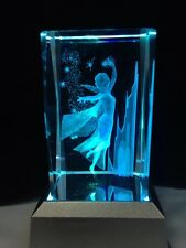 NEW FROZEN ELSA - 3D Laser Etched Crystal Block With 4 Led Light Base