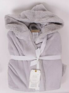 Pottery Barn Teen Recycled Faux-Fur Trim Robe, one-size, gray, bunny, hooded