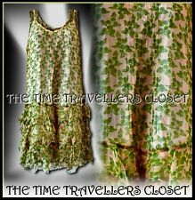 Kate Moss Topshop Floral Green Cream Apple Mini Dress 1920s 30s Flapper UK 6 8