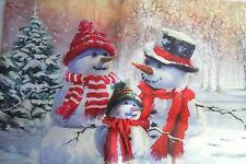 """NEW!Christmas,Winter,Snowman Family,Snow,Forest,Cover.17"""" square.w.Zipper.Linen"""
