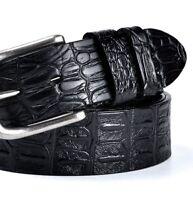 Men's Crocodile Pattern Belt Black Faux Leather Silver Metal Buckle Accessories