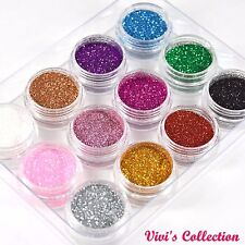 12 Loose Fine Glitter Dust Pots Eye shadow Face Body Painting Set Nail Art UK