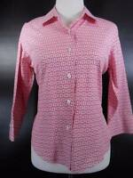 Beautiful Women's Petite 10 Talbots Pink Chain-link Design Fitted LS Blouse GUC