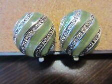 925 Vtg Sterling Silver Signed Detailed Light Green & Rhinestone Clips Earrings
