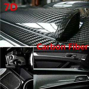 "7D Car Interior Accessories Panel Black Carbon Fiber Vinyl Wrap Sticker 12""x60"""