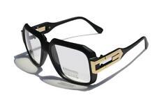 Matte black Clear Lens Square Sun Glasses /w Gold Metal Accents