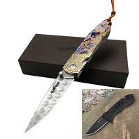 ALBATROSS Damascus Steel Stainless Steel Folding Pocket Knives set HGDK13B+FK024