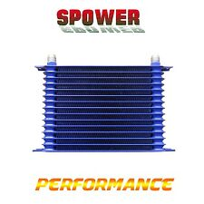 Universal 15 Row AN10 Engine Transmission 262mm Oil Cooler Trust Style Blue