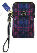 NWT Coach Poppy Tartan Universal Case Bag in Navy Multi #62805