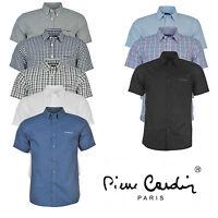 Mens Short Sleeve Shirt Pierre Cardin Plain Striped Checked Summer Office Work