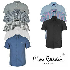 Mens Short Sleeve Shirt Pierre Cardin Plain Striped Checked Summer Office Work