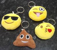 Plush Emoji Emoticon Keyring Bag Charm Key Chain - Poop, Winky, Kiss, Sunglasses