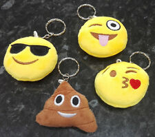 Plush Emoji Emoticon Keyring Bag Charm Key Chain - Poop, Winky, Kiss, Sunglasses