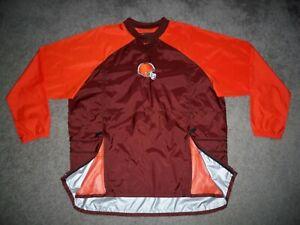 Men's NWOT NIKE CLEVELAND BROWNS Crewneck Wind Shirt L BROWN & ORANGE w/Swoosh