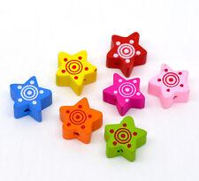 100 Mixte Perles Bois Étoile Multicolore 15x15mm