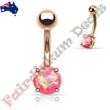 Rose gold Ion Plated Belly Ring with Prong Set Pink Glitter Opal