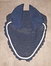 EAR NET HORSE FLY VEIL CROCHET EQUESTRIAN WITH PIPING, BLACK, STANDARD SIZE FULL