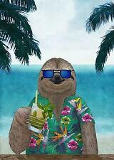 SLOTH ART POSTER cute funny animal wearing sunglasses drinking mimosa at ocean