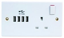 13A 1-Gang Switched Socket with 4x 2.4A Usb Sockets