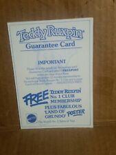 Teddy Ruxpin Guarantee Card Uk vintage