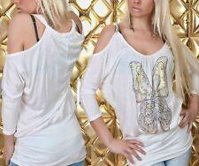 SeXy Miss Damen Butterfly Pailletten Shirt Langarm TOP 34/36/38 weiß bunt NEU