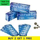 Renata Watch Batteries 321 362 364 370 371 373 377 379 390 395 BUY2 GET1 FREE UK