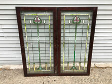 "2 Antique Stained Leaded Glass Bookcase Cabinet Doors / Windows 48"" by 24"""