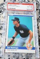 DON MATTINGLY 1984 Fleer Rookie Card RC PSA 8 New York Yankees Dodgers Marlins $
