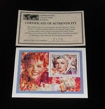 1996, NIGER, MARILYN MONROE, LIMITED EDITION, 700f SOUVENIR SHEET, W/COA