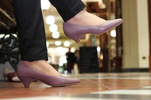 Dusky Pink/ Mauve Elegant Low Heel leather Shoes Courts Kitten SALE