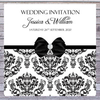 PERSONALISED WEDDING INVITATIONS ELEGANT BLACK AND WHITE VINTAGE DAMASK x10