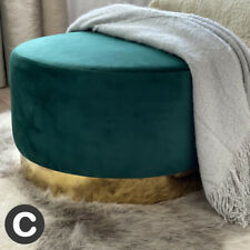 Luxury Dark Green Velvet Large Round Ottoman Footstool Gold Metal Base