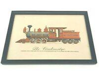 Vtg Evelyn Curro Hand Color Print Locomotive Engine 'The Breckenridge' Framed