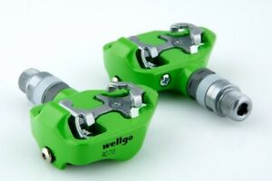 Wellgo RC-713 Lightweight One Side Clipless Shimano SPD Cleat Road Pedals Green