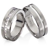 Eheringe Trauringe Verlobungsringe aus Titan mit Zirkonia und Ringe Gravur TB605