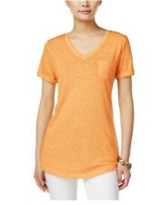 Style & Co Yellow Burnout Cuffed Tee Front Pocket VNeck Basic Cotton Shirt Large