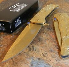 Masters Collection Spring Assisted Folding Knife Dear Sculpture Gold Titanium