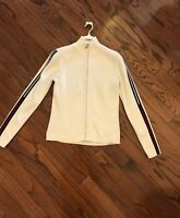 Tommy Hilfiger Womens Sweater CREAM/WHITE Cardigan Zip up STRIPE SLEEVES M