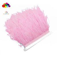 Hot 1/5/10 meter pink Ostrich Feathers 8-15 cm/3-6 inch Fringe Ribbon Trim craft