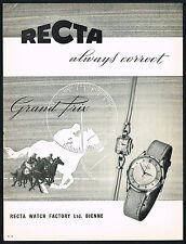 1950's Vintage 1956 Recta Grand Prix Automatic Watch Horse Racing Art Print AD