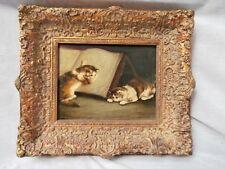 ADORABLE FELINE CAT CATS ON A BOOK INDOOR GENRE SCENE OIL/CANVAS KITTY PORTRAIT