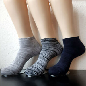 3 Pair Women's Sneaker Socks Bamboo And Cotton Melange Striped 35 To 42