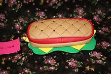 NWT Betsey Johnson Kitsch You're My Hero Sandwich Pencil Case Bag Rosebud