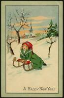 Vintage Christmas Postcard - Little Girl Riding Sled, Toboggan in the Snow