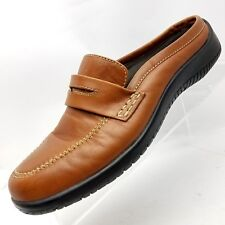 Bass Jupiter1 Womens Mules Brown Leather Size 7 M Slip On Drivers Heel Shoes