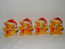 Vintage 4x Santa Teddy Bear Christmas Tree Lights Covers Only Replacement Part