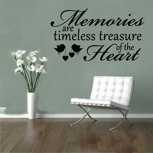 Memories Heart Birds Quote Wall Stickers Art Room Removable Decals DIY
