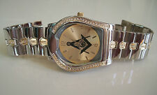 MEN'S GOLD/SILVER FINISH WITH CZ & MASONIC SIGN BRAND NEW FASHION  WATCH
